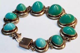 BIG CABs UNtreated Turquoise Victorian to Art Deco 15k rose gold bracelet - $5,462.50