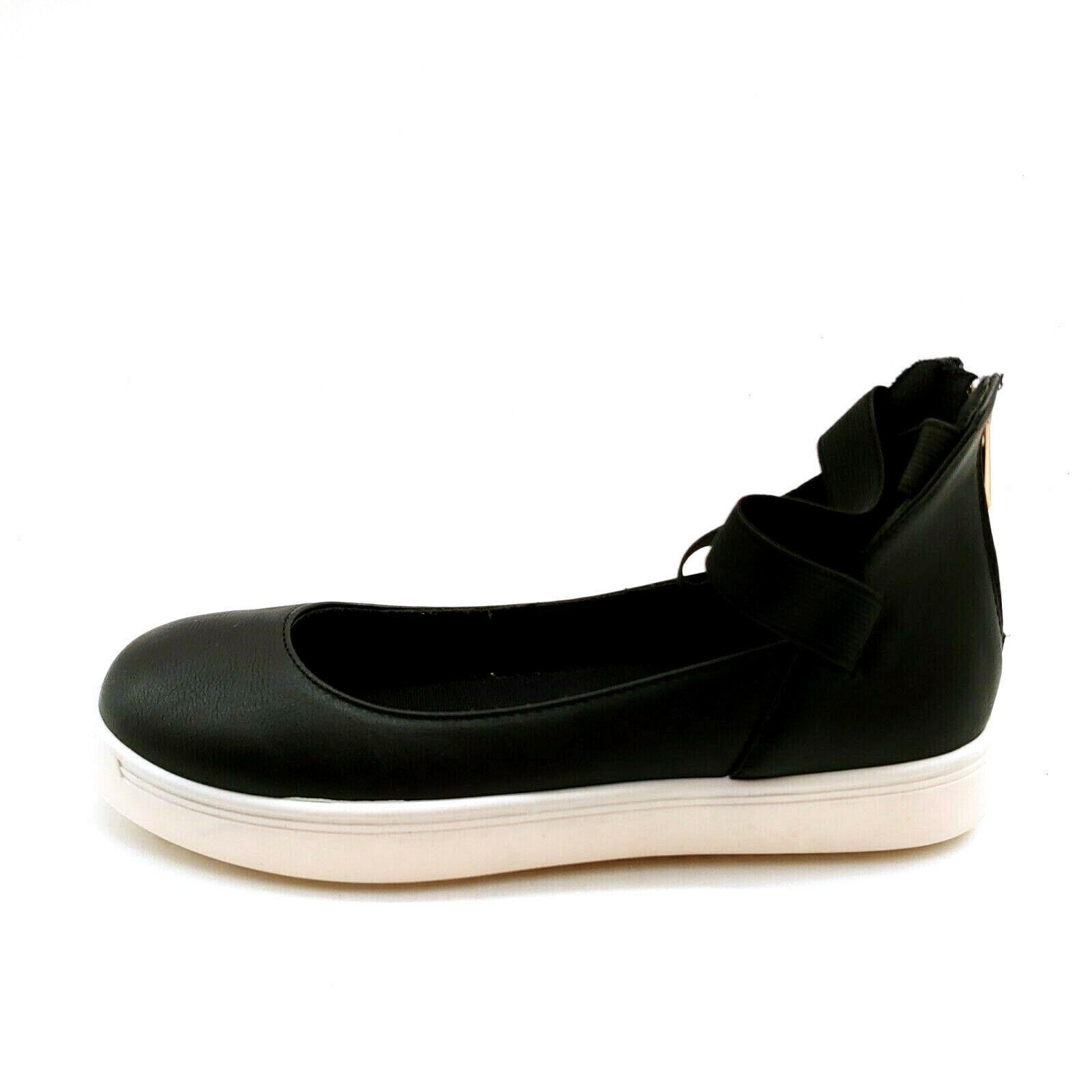 Bamboo Womans Grandslam Ankle Elastic Strap Sneaker Black Heel Zip Sz 7 M NEW - $21.45