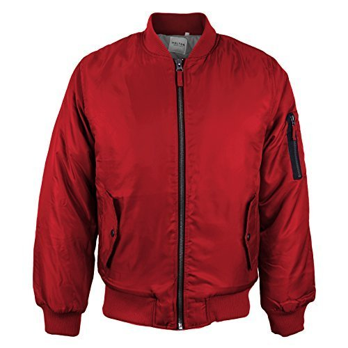 Men's Multi Pocket Water Resistant Padded Zip Up Flight Bomber Jacket (2XL, Red)