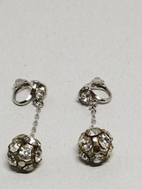 Vintage Rhinestone Ball Hanging Clip On Earrings - $14.39