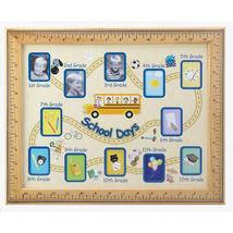 SCHOOL DAYS PHOTO FRAME Picture Collage 1st to 12th Grade Wood Ruler Theme - £12.25 GBP