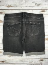 Silver J EAN S Shorts Buckle Low Rise Santorini Stretch Black Denim Jean Short 32 - $39.97