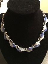 Vintage Silvertone Choker Necklace With Acrylic Two Tone Blue Beads (234) - $12.50