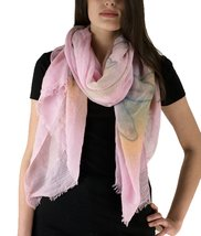 Le Nom Water Color Flower Print Scarf (PINK) - $12.86