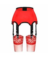 Slocyclub 6 Strap Garter Belt Stocking Sets Red - $30.84