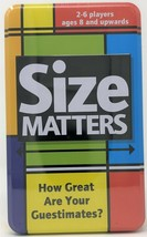 Card Game in a Tin Size Matters Trivia Quiz Night Questions - $11.92