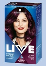 Schwarzkopf Live Permanent Hair Dye CYBER PURPLE Intense Colour with SHI... - $15.89