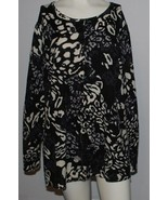 East 5th Woman Sweater Plus Size 3X Cardigan Black Gray Cream Print Care... - $14.80