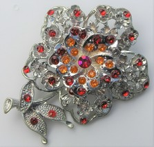 Vintage Red Orange Rhinestone Flower Brooch Multi Flower Lucite Acrylic Pin - $14.99