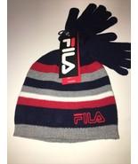 Fila Gray Blue Red Knit Cuff Hat & Stretch Gloves Youth Boy'sNWT One size - $13.99