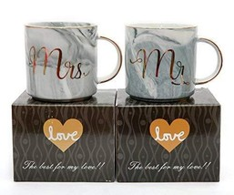 Luspan Mr and Mrs Couples Coffee Mugs Set - Gift for Bridal Shower Engag... - $25.89