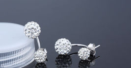 925 Sterling Silver Shamballa earring CZ Cubic Zirconium clear crystal DLE87 image 3