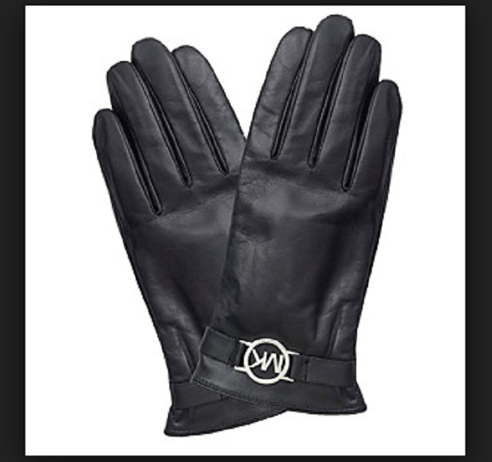 Primary image for Michael Kors Tech Touch Genuine Leather with Logo T Black with silver Gloves L