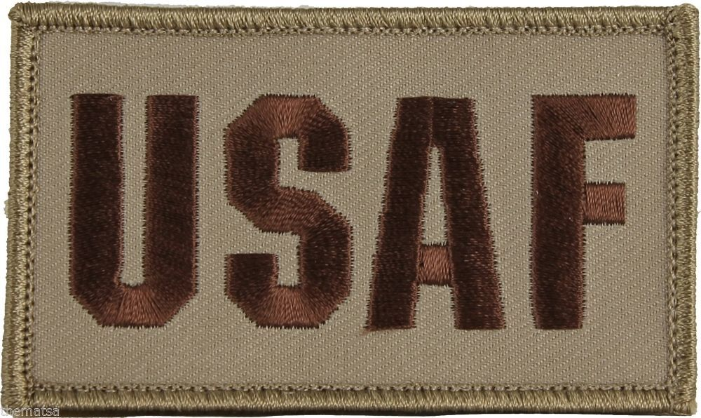 USAF AIR FORCE 2 X 3  EMBROIDERED UNIFORM SHIRT DESERT TAN PATCH HOOK LOOP