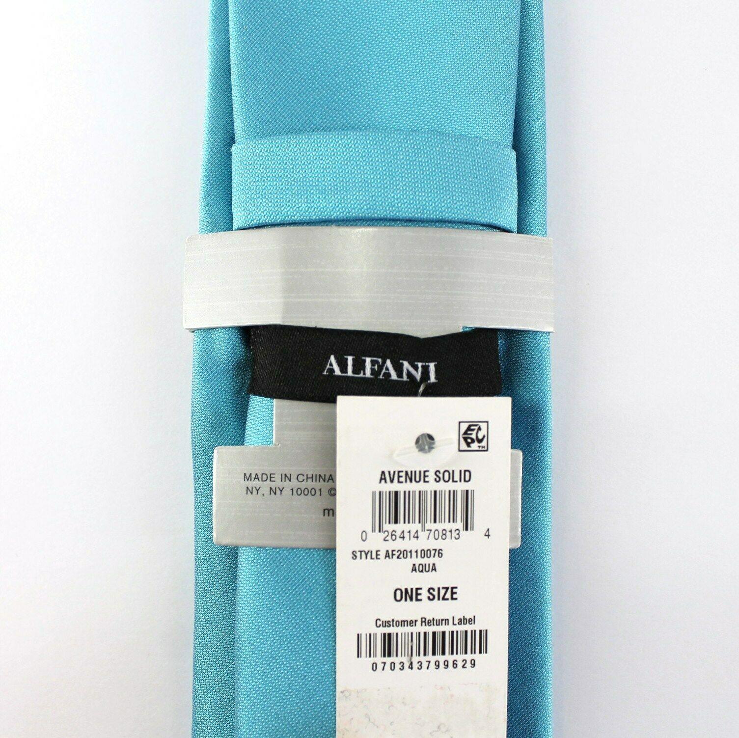 Alfani Neck Tie Aqua Blue Avenue Solid 100% Silk Slim Skinny Mens New image 3
