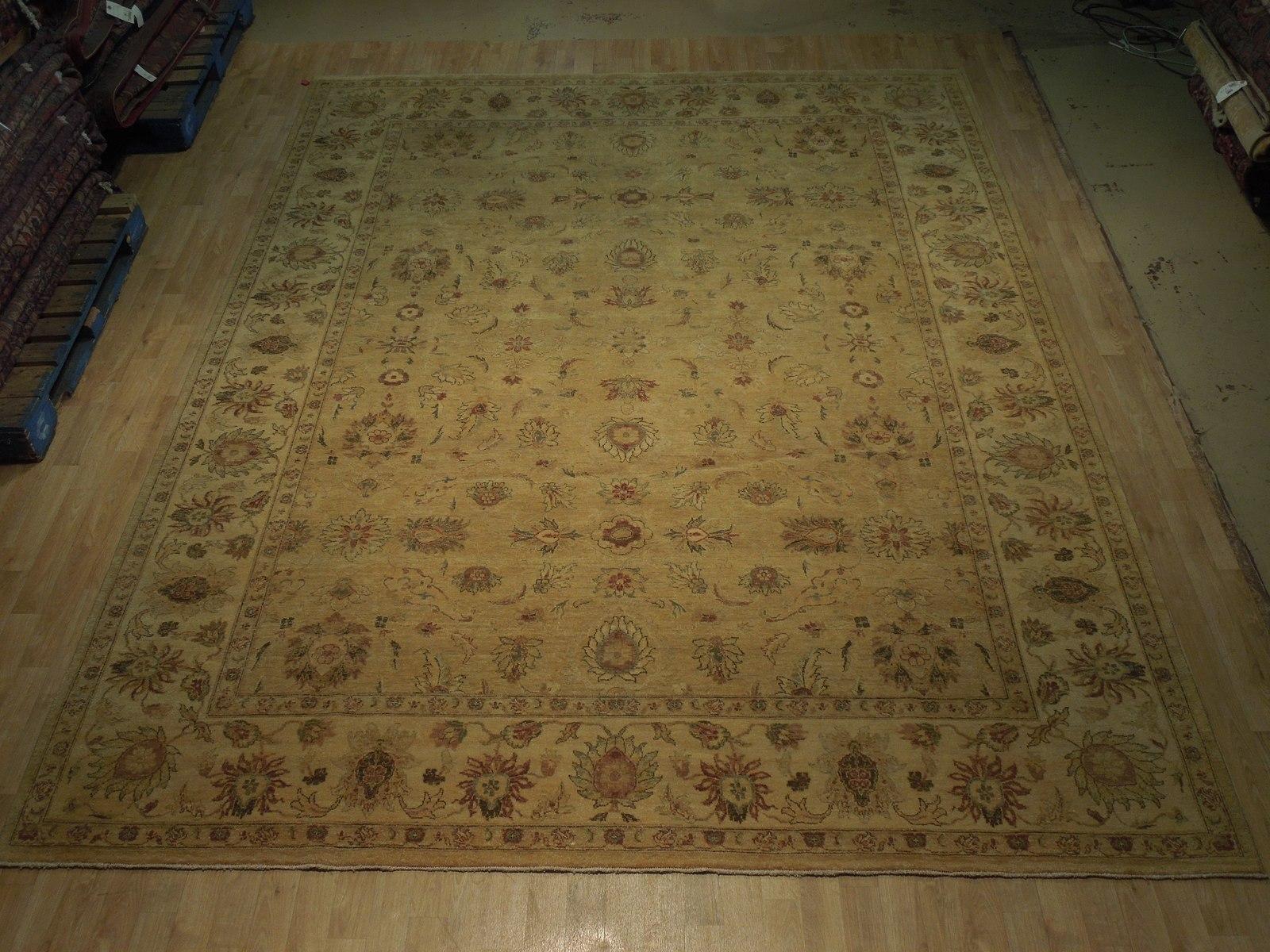 Honey Gold Wool Carpet 9' x 12' New Original Ziglar Oushak Hand-Knotted Rug image 4