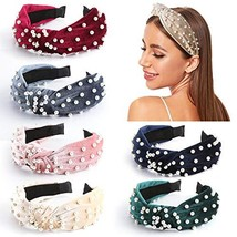 Makone Pearl Headbands for Women Top Knot Velvet Headband Vintage Wide H... - $17.16