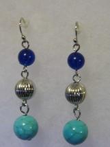 Pair Dangling Pierced Earrings Green Blue Bead Tone Costume Fashion Jewelry - $9.66