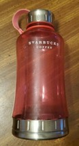 2006 Starbucks Clear Pink 32oz Water Bottle Stainless Steel Cap & Base - $12.87