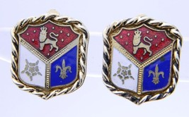 VTG CORO Signed Gold Toned Enamel Coat of Arms Clip Earrings - $29.70