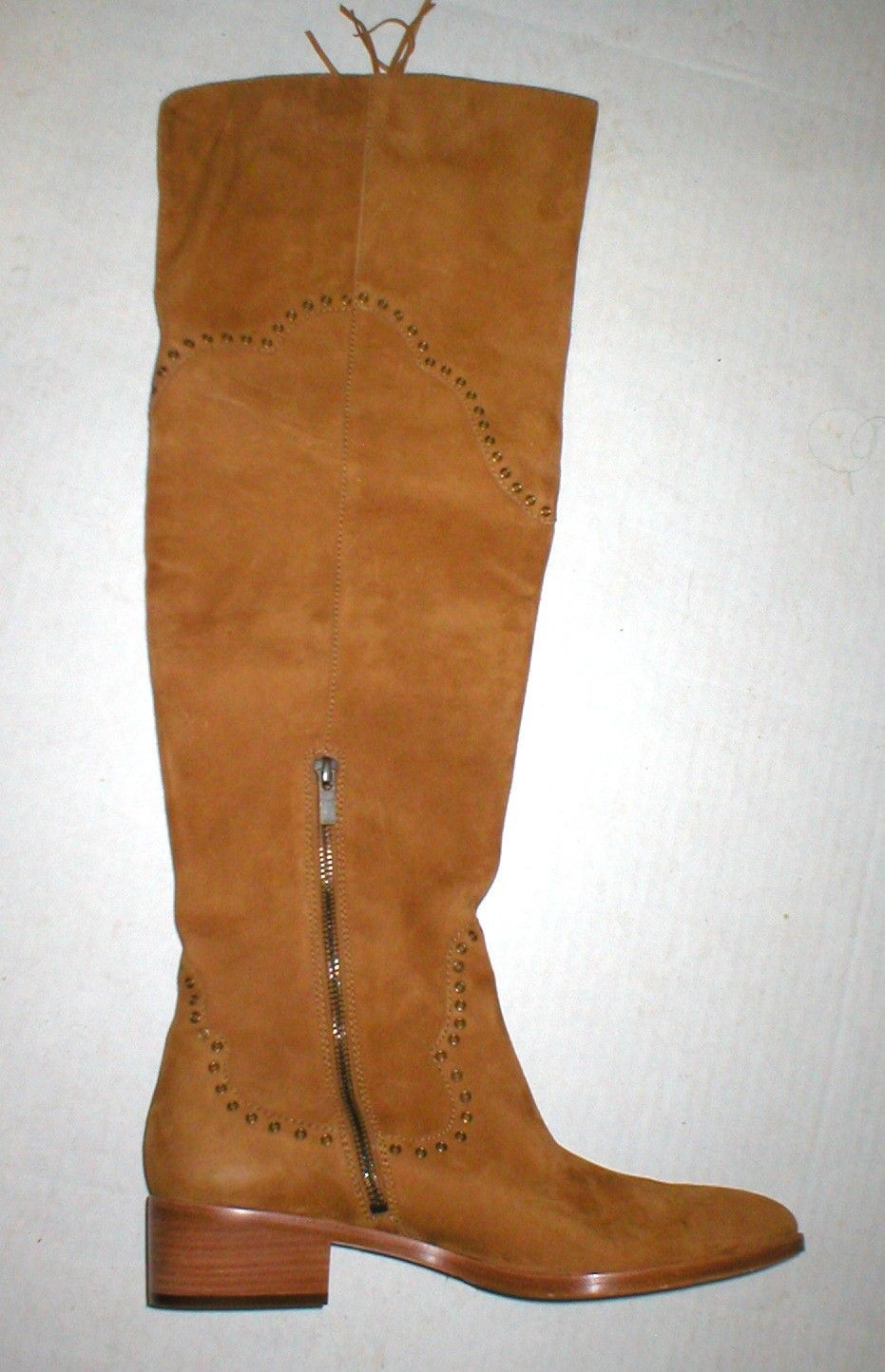 New $578 Womens 9.5 Frye Suede Leather Boots OTK Tall Knee Fringe Ray Camel Tan image 7