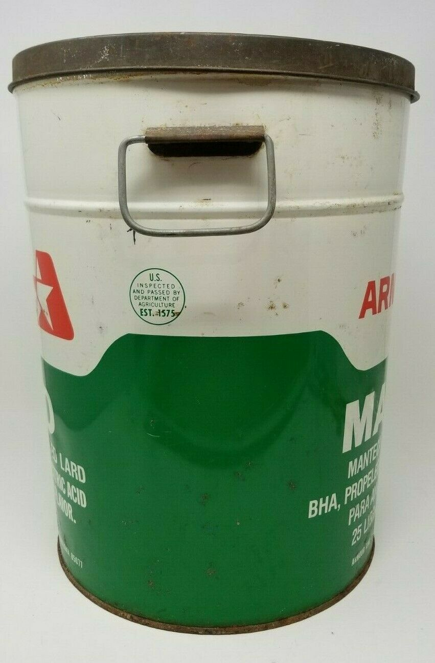 Vintage Armour Lard 25 pound can container green white red with handles