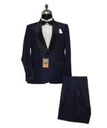 Men Blue Two Piece Suits Designer Dinner Party Wear Wedding Suits - $159.99