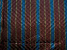 1.3 PANELS DESIGNER HOUNDSTOOTH SILK JACQUARD BURG W/ COGNAC BLUE STRIPE... - $50.00
