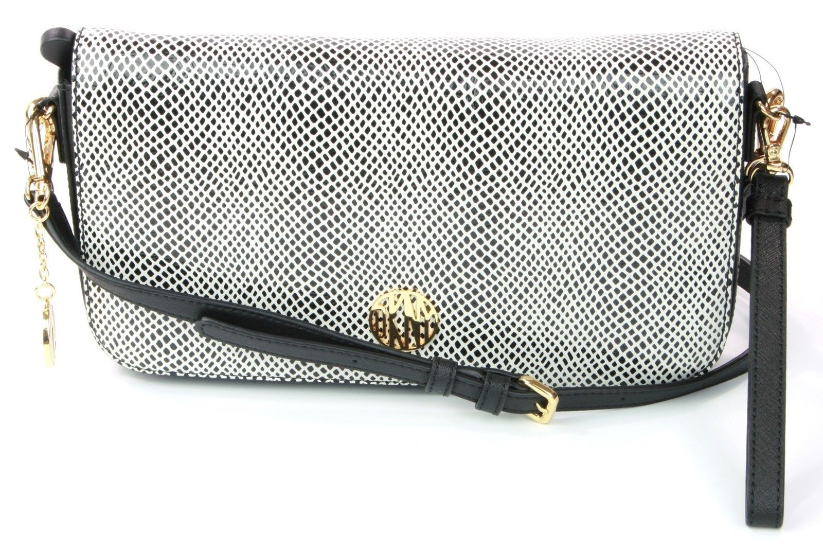 DKNY Donna Karan Black White Snakeskin Embossed Cross Body Bag Clutch