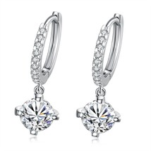 Women Sterling Silver Drop Dangle Earrings Fashion Cubic Zirconia Long E... - $12.73