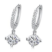 Women Sterling Silver Drop Dangle Earrings Fashion Cubic Zirconia Long Earrings - $12.73