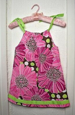 Primary image for Hanna Andersson Pink Floral Print Dress Green Ribbon Tie - Girls 100 4T