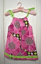 Hanna Andersson Pink Floral Print Dress Green Ribbon Tie - Girls 100 4T - $14.20