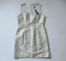 NWT Elie Tahari Winny in Gold Metallic Jacquard Sheer Yoke A-line Dress ... - $44.00