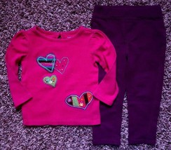 Girl's Size 18 M 12-18 Months 2 Piece Pink Heart Baby Gap Top, Purple M&... - $20.00