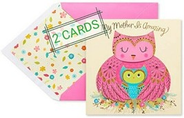 2 American Greetings Owls Mother's Day Greeting Card with Glitter - $8.90