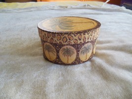 Kate McRostie Oval Box with Lid 2004 Leopard Print/Palm Trees - $14.84