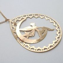 Silver Necklace 925 Laminated in Rose Gold le Favole with Fairies, Drop, Moon image 4