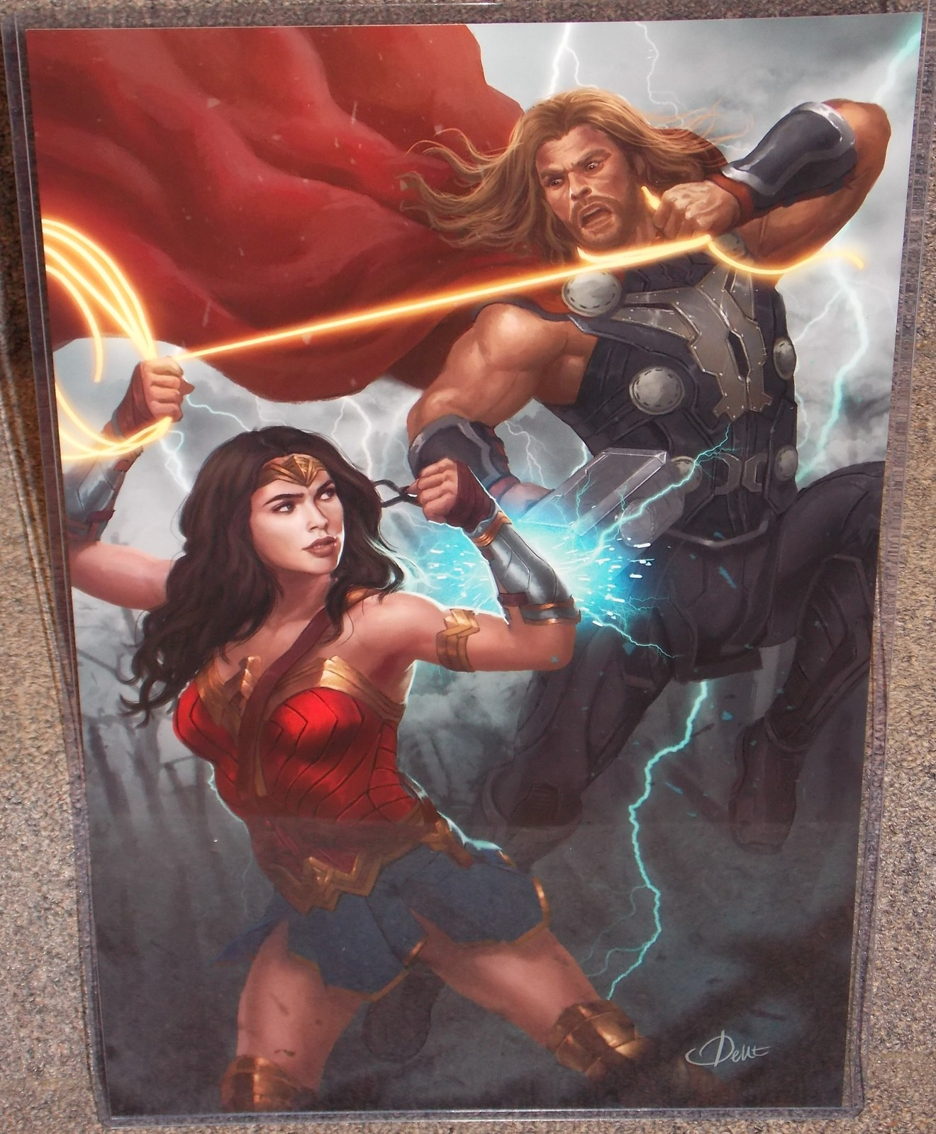 Primary image for Wonder Woman vs Thor Glossy Art Print 11 x 17 In Hard Plastic Sleeve
