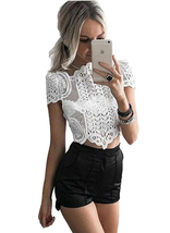 Ladies Vintage Crochet Lace Crop Top White Club Blouse Size 8 10 12 -tp195 - $29.99