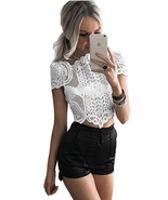 Ladies Vintage Crochet Lace Crop Top White Club Blouse Size 8 10 12 -tp195 - $13.95+