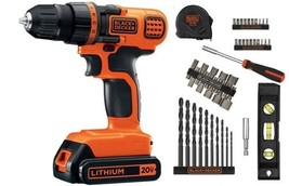 20-Volt MAX Lithium Ion Cordless Drill with 44-Piece Project Kit BLACK+D... - $62.10