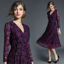 V-neck long sleeve temperament lace fashion dress - $69.00