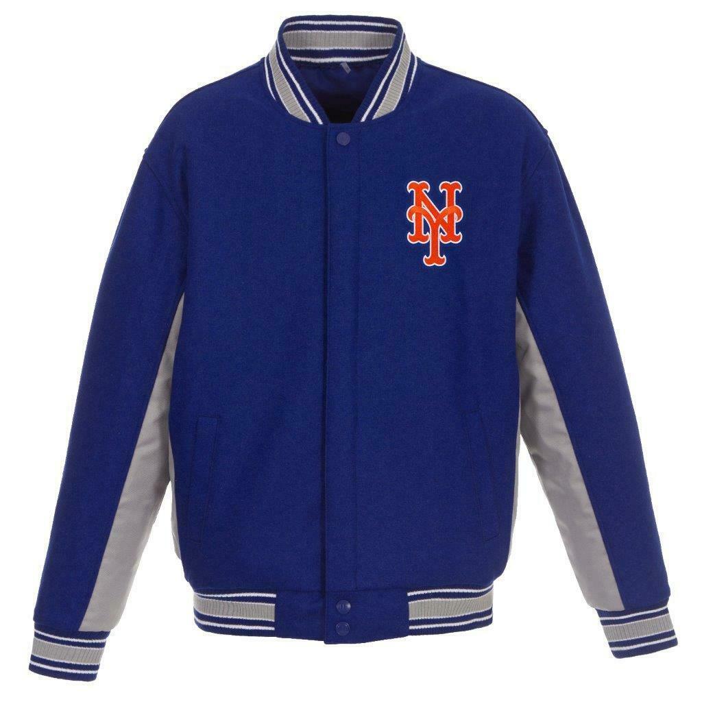 MLB New York Mets JH Design Wool Reversible Jacket  Royal Blue & Charcoal - $179.99