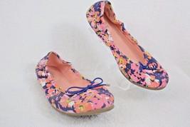 ANN TAYLOR LOFT PINK/PURPLE/ORANGE FLORAL FABRIC BALLET FLATS 6.5M R32 - $12.99