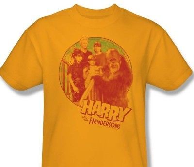 Harry and Hendersons T-shirt retro 80s TV show 100% cotton gold tee NBC307