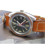 Clinton Swiss Made Vintage Dive watch Italian leather watch band worldti... - $373.99