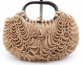 JAMIN PUECH Bag Clutch Satchel Raffia Tan Top Handles Brown Striped Lining - $118.75