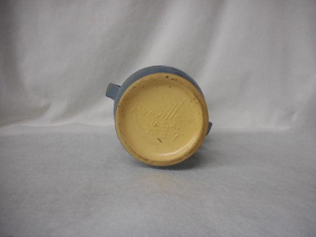 "Vintage Roseville Pottery Blue 2 Handled Freesia Vase USA 123-9"""
