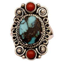 Shine Jewel Vintage 925 Silver 12x10 MM Blue Turquoise Coral Designer Ring - $21.49